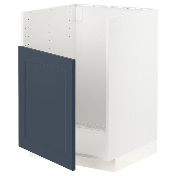 METOD Base cabinet f BREDSJÖN sink, white Axstad/matt blue, 60x60 cm