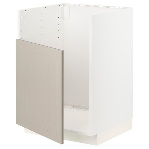 METOD Base cabinet f BREDSJÖN sink, white/Stensund beige, 60x60 cm