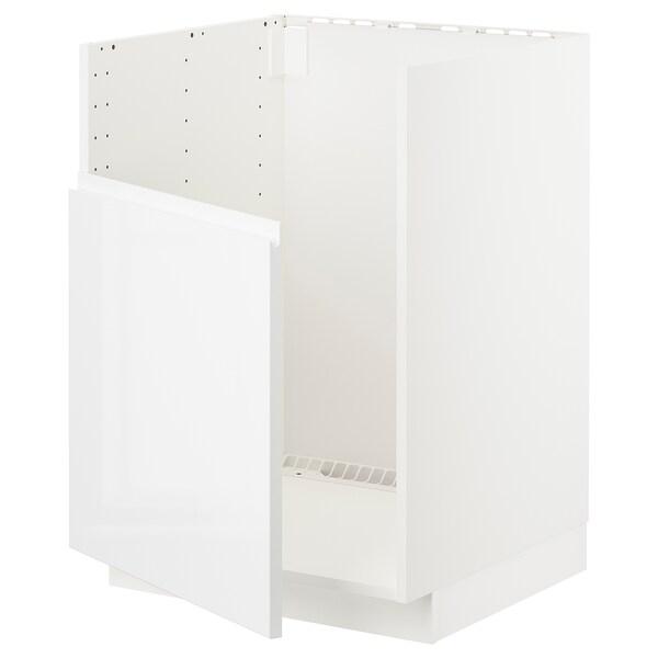 METOD Base cabinet f BREDSJÖN sink, white/Voxtorp high-gloss/white, 60x60 cm