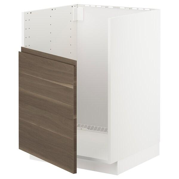 METOD Base cabinet f BREDSJÖN sink, white/Voxtorp walnut effect, 60x60 cm