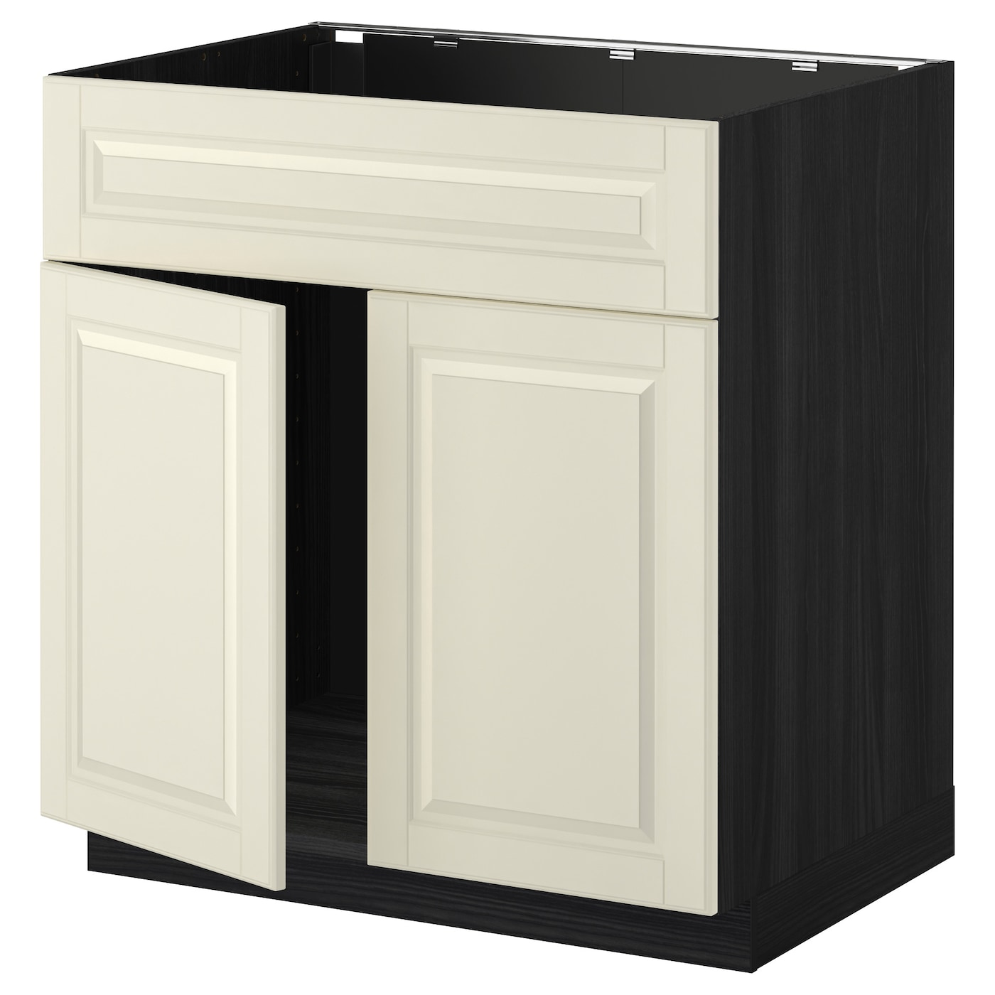 Metod base cabinet f sink w 2 doors front black bodbyn off for White cabinets with black doors