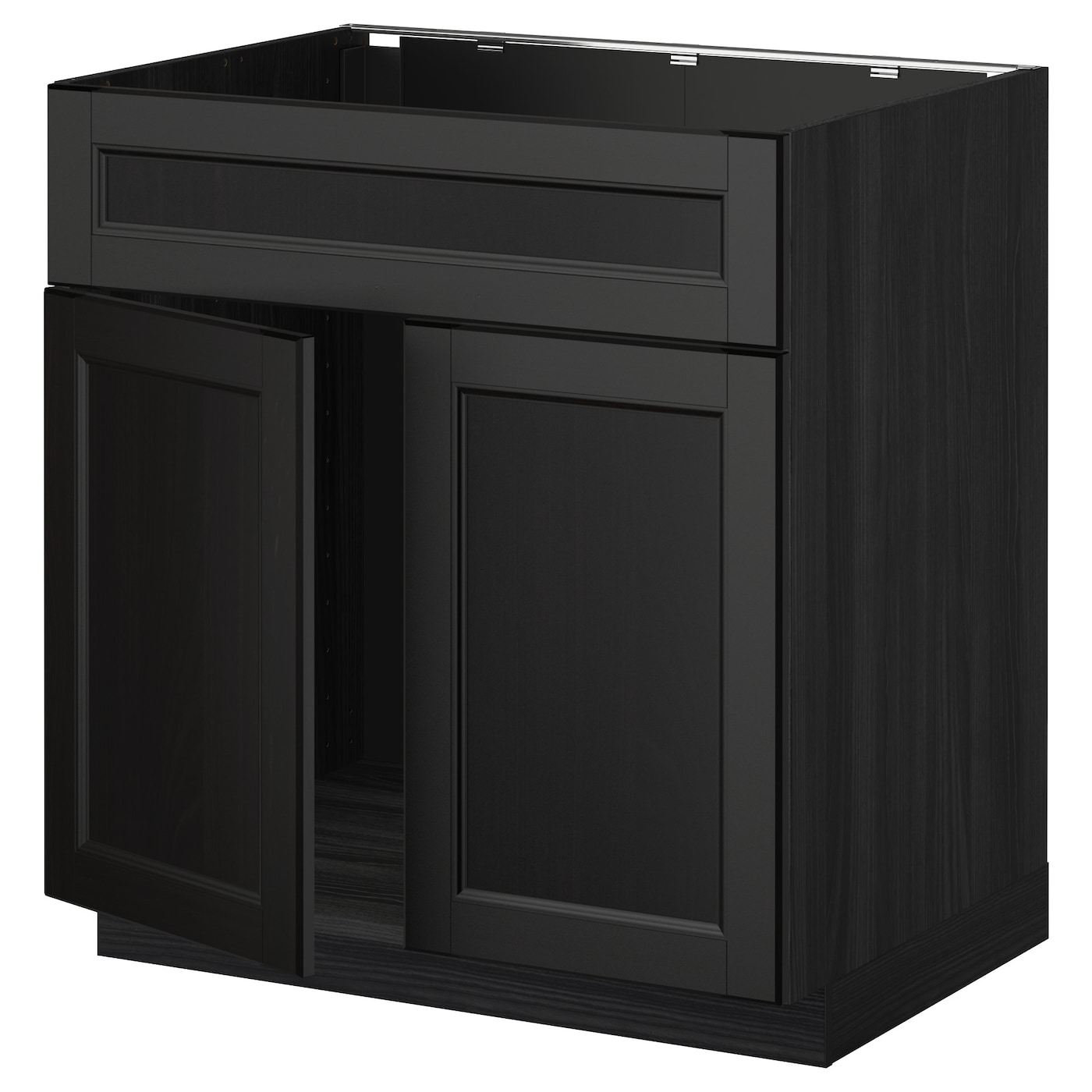 Metod base cabinet f sink w 2 doors front black laxarby for Black cabinet with doors