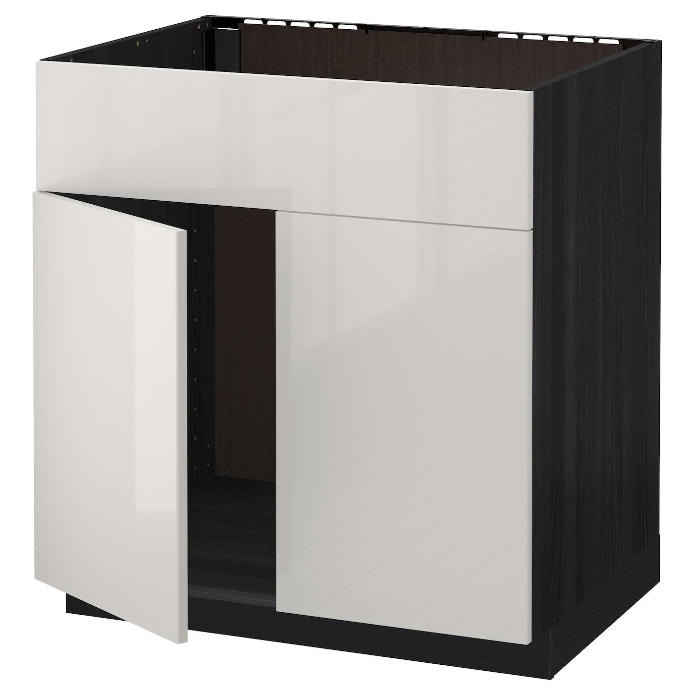 Ikea Kitchen Cabinet Construction: METOD Base Cabinet F Sink W 2 Doors/front Black/ringhult