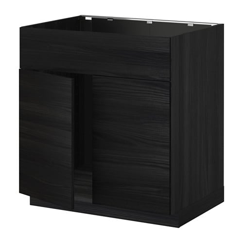 METOD Base Cabinet F Sink W 2 Doors/front Black/tingsryd