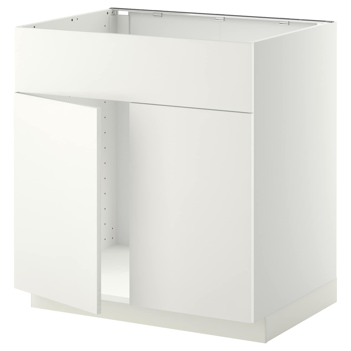 Metod base cabinet f sink w 2 doors front white h ggeby for White kitchen base cabinets