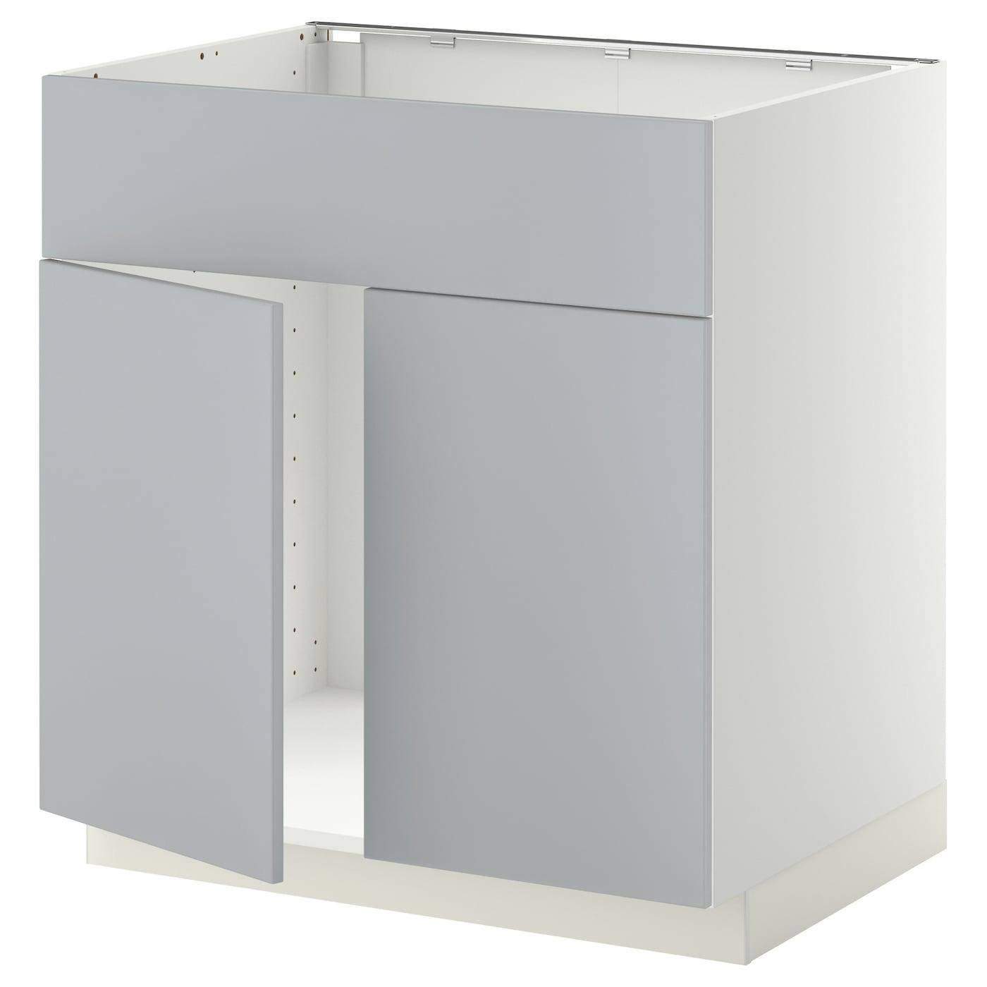 Metod Base Cabinet F Sink W 2 Doors Front White Veddinge Grey 80x60 Cm Ikea