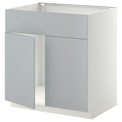 METOD Base cabinet f sink w 2 doors/front, white/Veddinge grey, 80x60 cm
