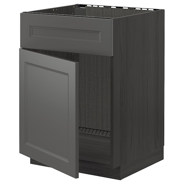 METOD Base cabinet f sink w door/front, black/Axstad dark grey, 60x60 cm