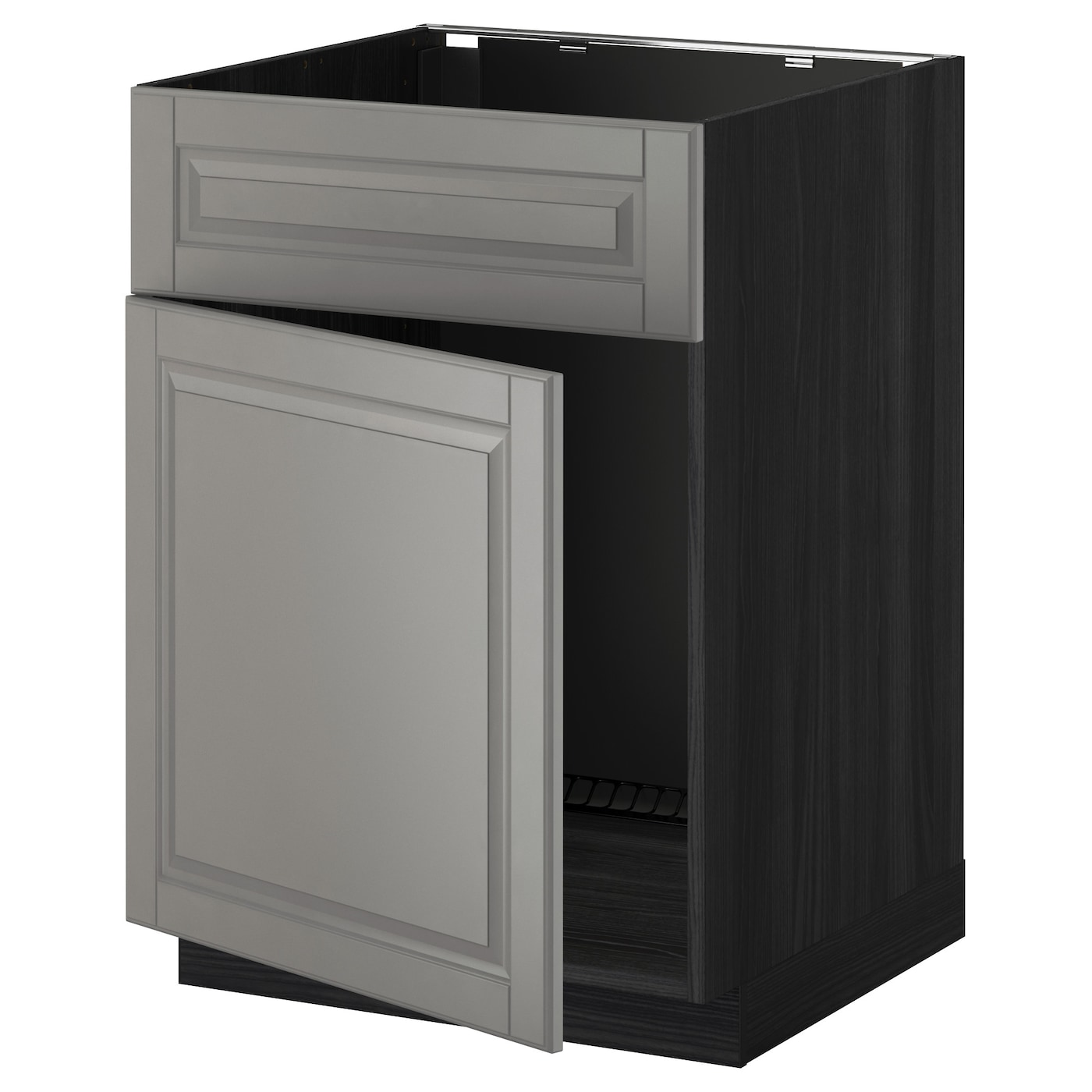 Metod base cabinet f sink w door front black bodbyn grey for Black cabinet with doors