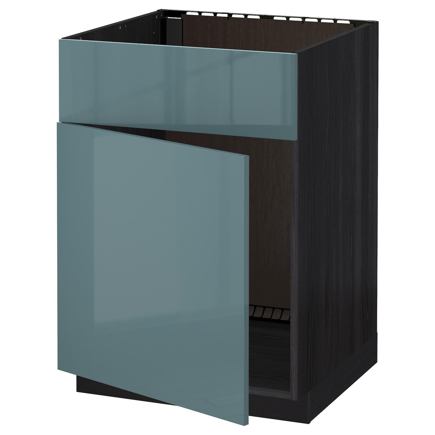 Metod Base Cabinet F Sink W Door Front Black Kallarp Grey Turquoise 60x60 Cm Ikea