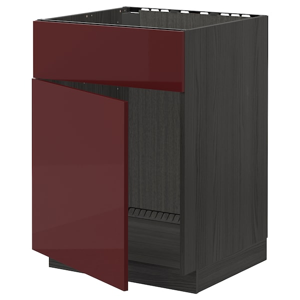 METOD Base cabinet f sink w door/front, black Kallarp/high-gloss dark red-brown, 60x60 cm