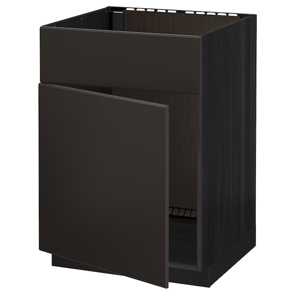 METOD Base cabinet f sink w door/front, black/Kungsbacka anthracite, 60x60 cm