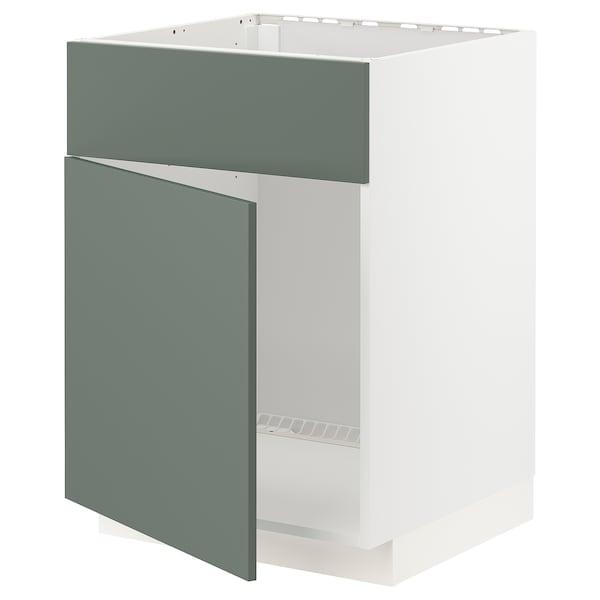 METOD Base cabinet f sink w door/front, white/Bodarp grey-green, 60x60 cm
