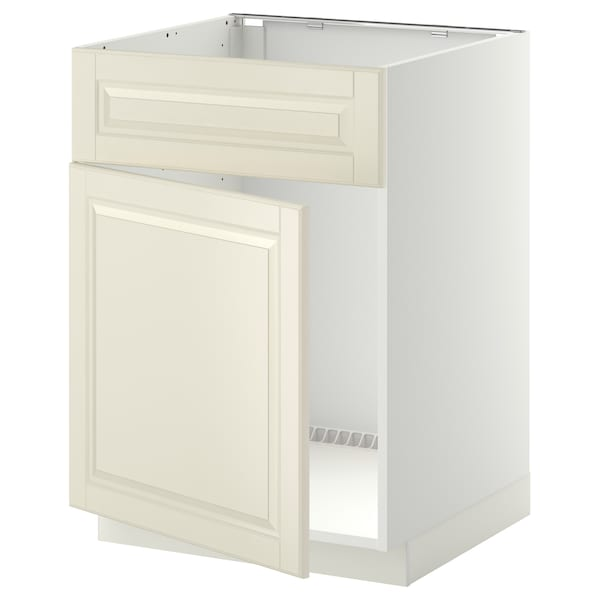 METOD Base cabinet f sink w door/front, white/Bodbyn off-white, 60x60 cm