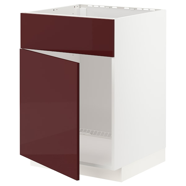 METOD Base cabinet f sink w door/front, white Kallarp/high-gloss dark red-brown, 60x60 cm