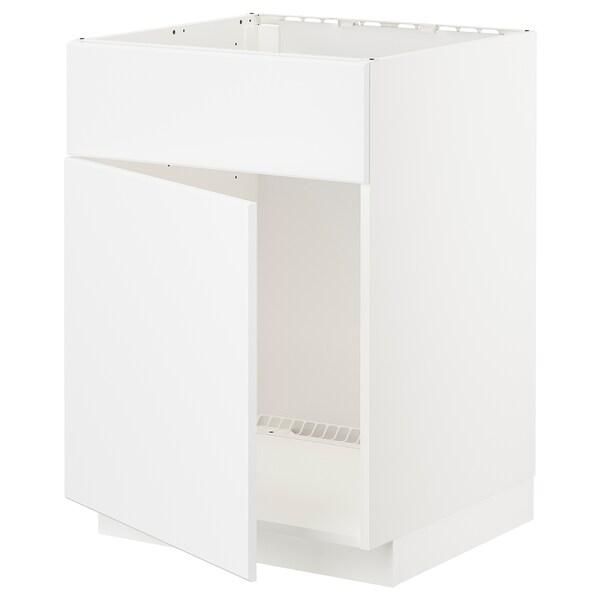 METOD Base cabinet f sink w door/front, white/Kungsbacka matt white, 60x60 cm
