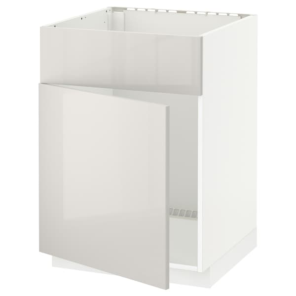 METOD Base cabinet f sink w door/front, white/Ringhult light grey, 60x60 cm