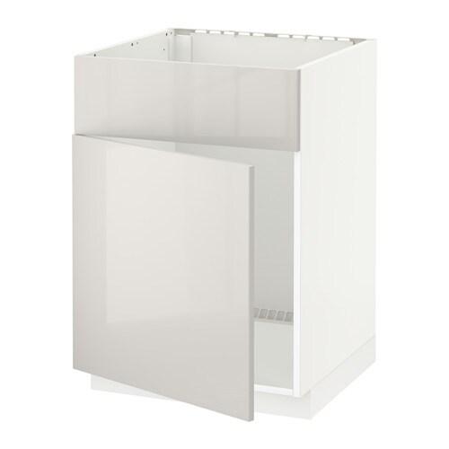 metod base cabinet f sink w door front white ringhult light grey 60x60 cm ikea. Black Bedroom Furniture Sets. Home Design Ideas