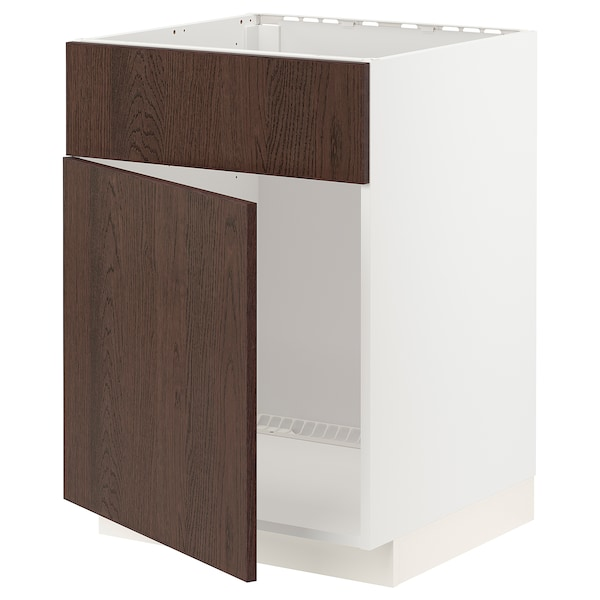 METOD Base cabinet f sink w door/front, white/Sinarp brown, 60x60 cm