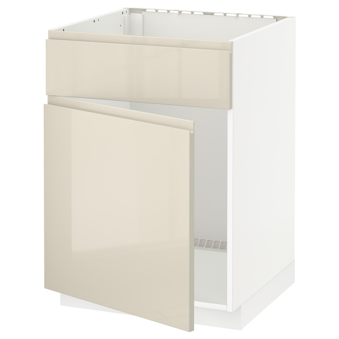 Metod base cabinet f sink w door front white voxtorp high for White gloss kitchen base units