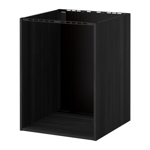 Metod Base Cabinet For Built In Ovensink Wood Effect Black 60 X 60