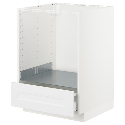 METOD Base cabinet for oven with drawer, white/Axstad matt white, 60x60 cm