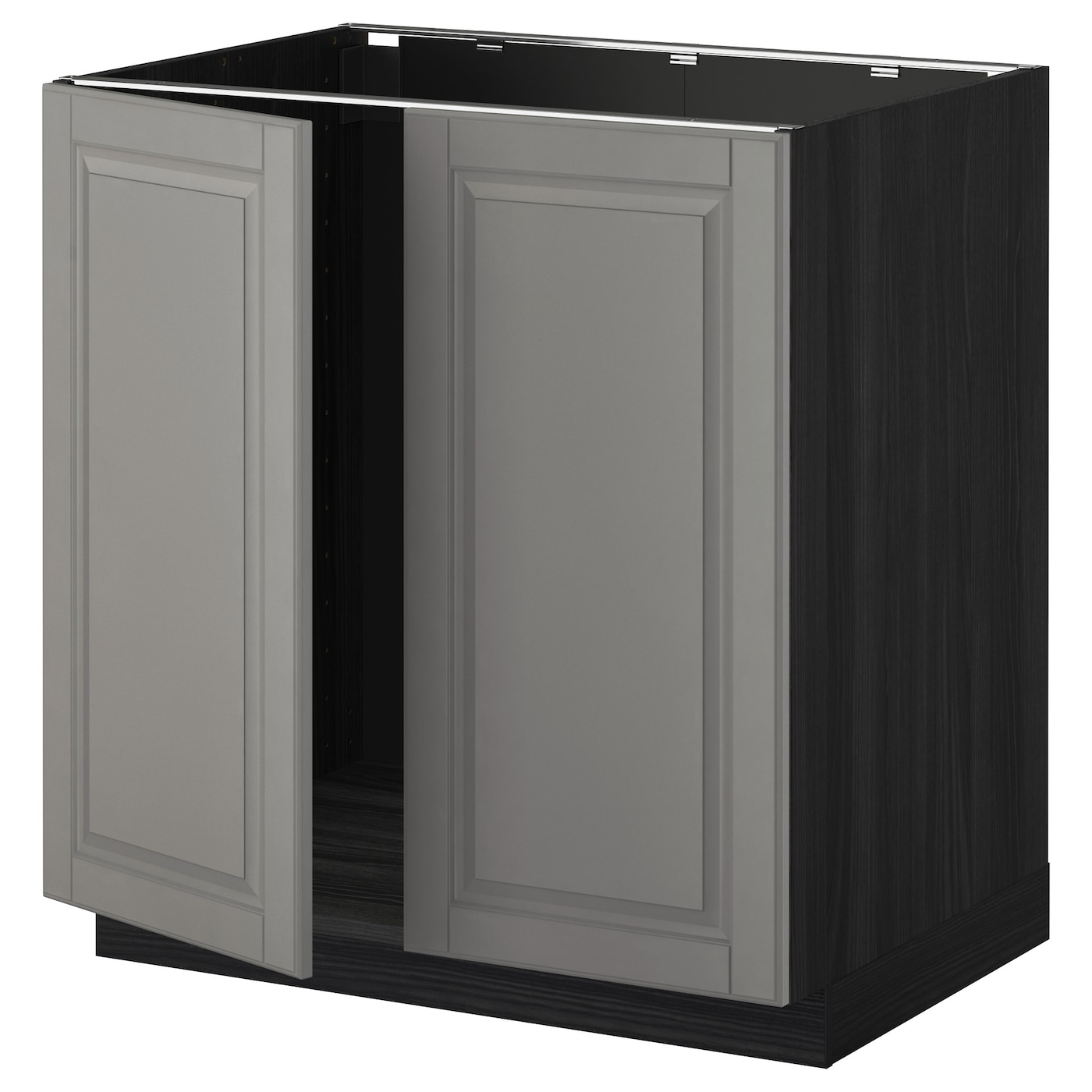 Metod base cabinet for sink 2 doors black bodbyn grey 80 for Ikea kuche metod