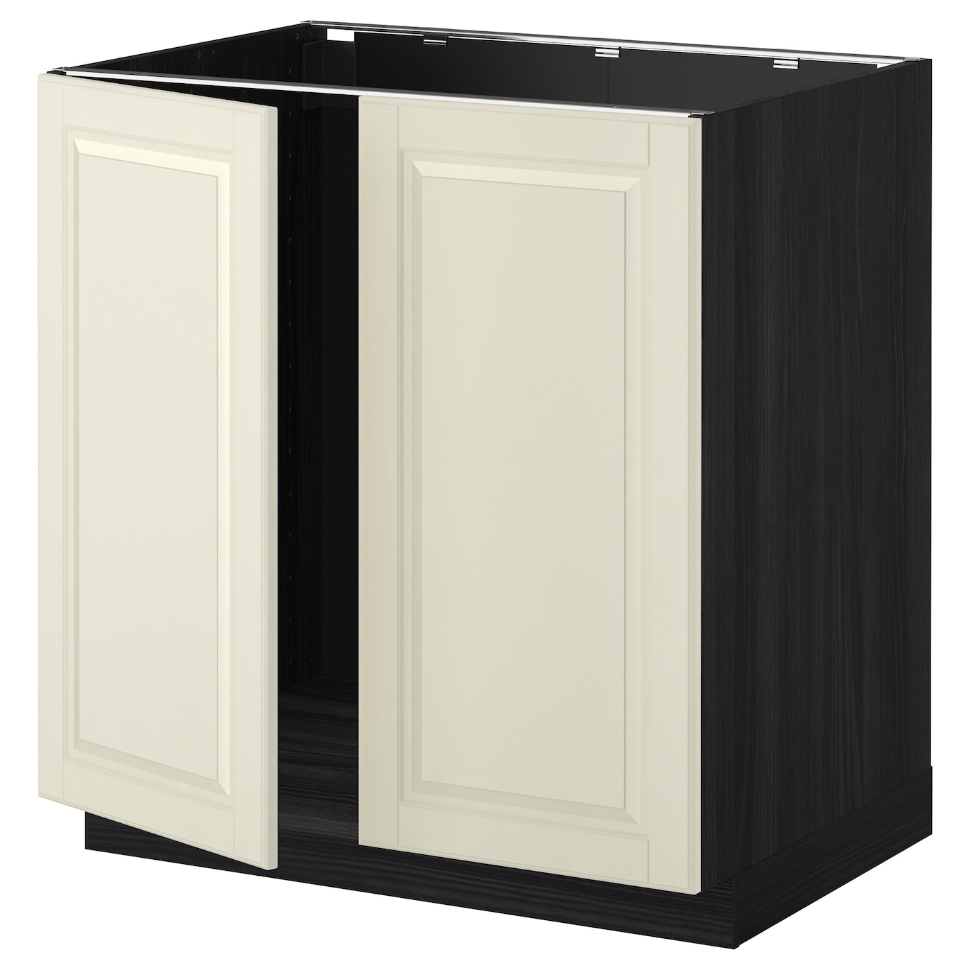 Metod base cabinet for sink 2 doors black bodbyn off for White cabinets with black doors