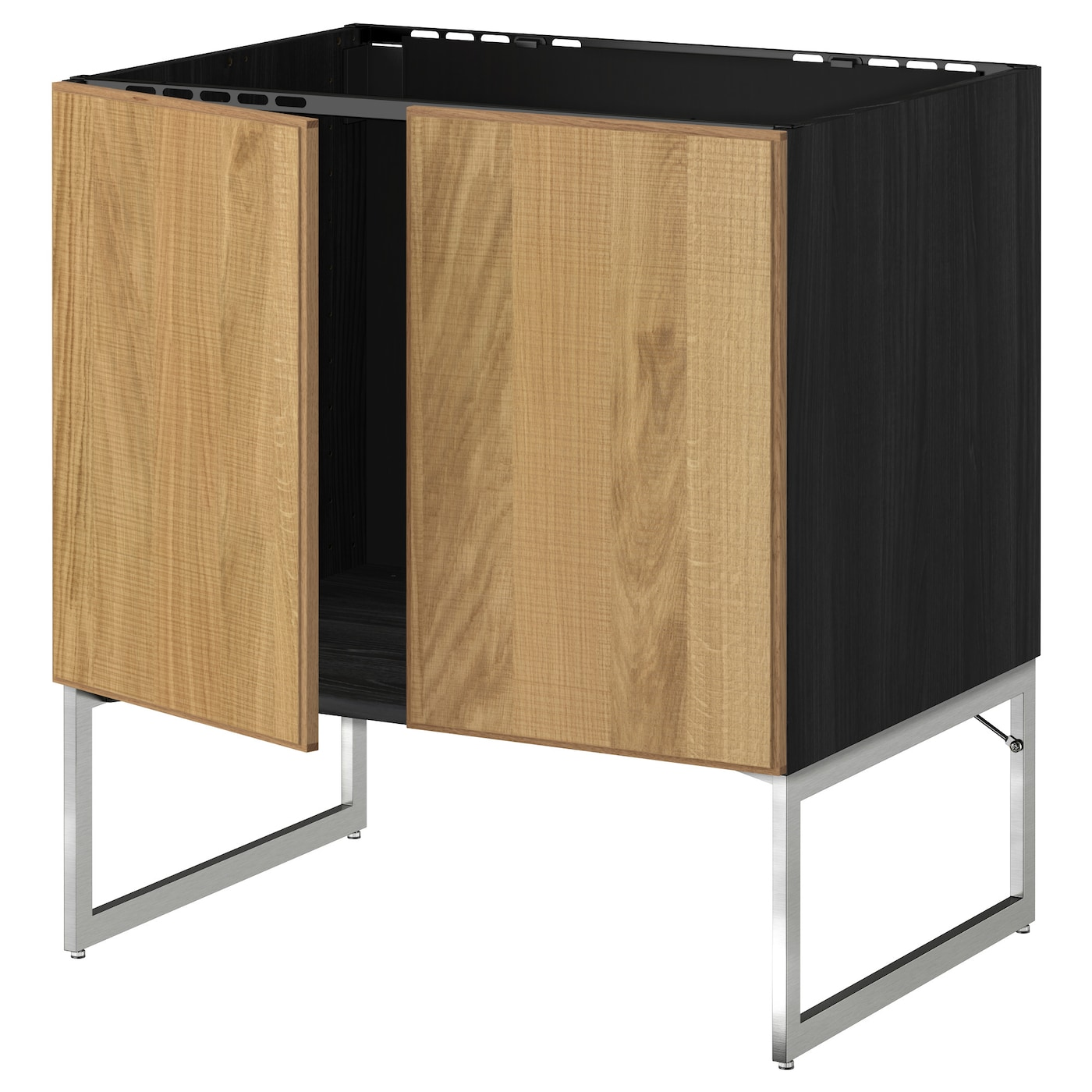 metod base cabinet for sink 2 doors black hyttan oak. Black Bedroom Furniture Sets. Home Design Ideas