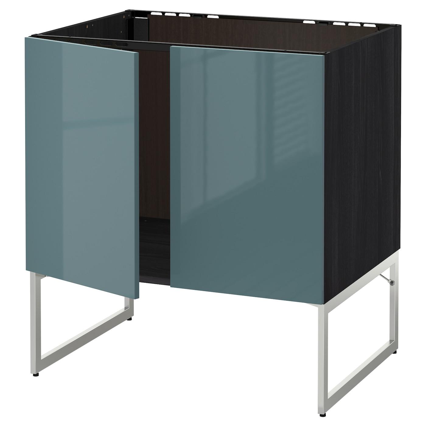 Ikea Kitchen Cabinet Construction: METOD Base Cabinet For Sink + 2 Doors Black/kallarp Grey