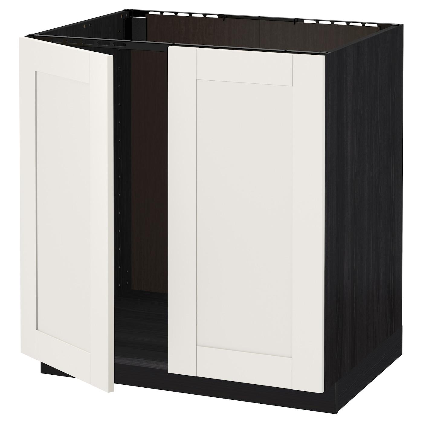 Metod base cabinet for sink 2 doors black s vedal white for White cabinets with black doors
