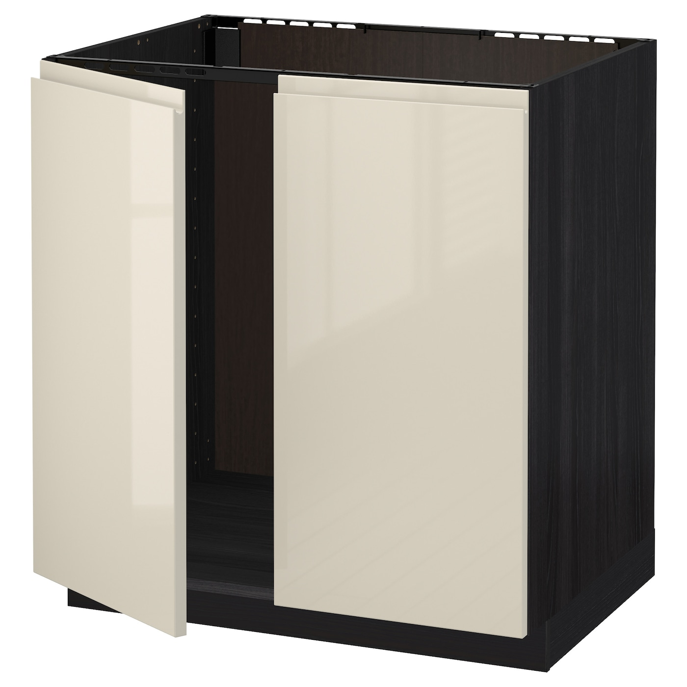 Metod base cabinet for sink 2 doors black voxtorp high for Kitchen base cabinets 700mm