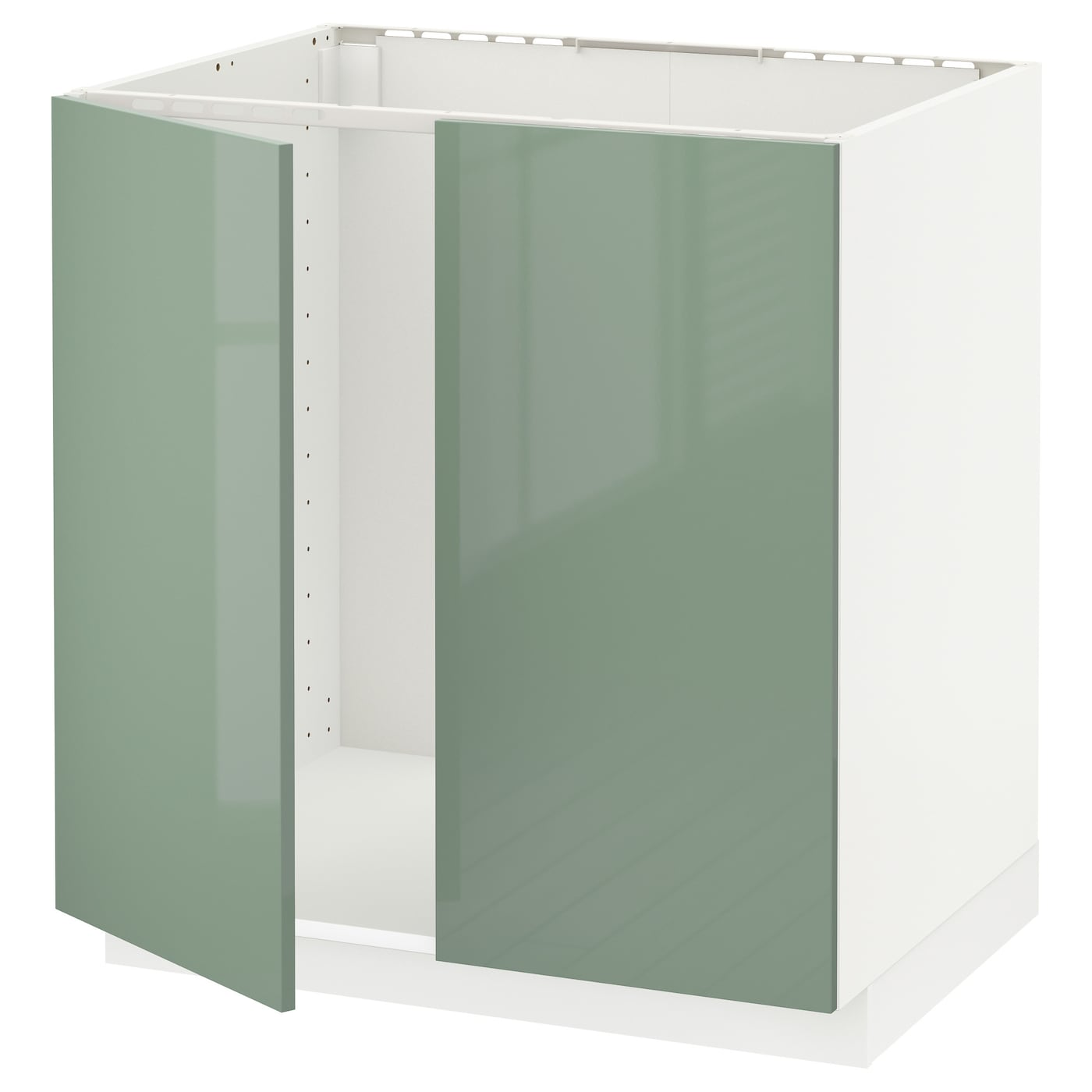 Metod base cabinet for sink 2 doors white kallarp light Kitchen cabinets light green