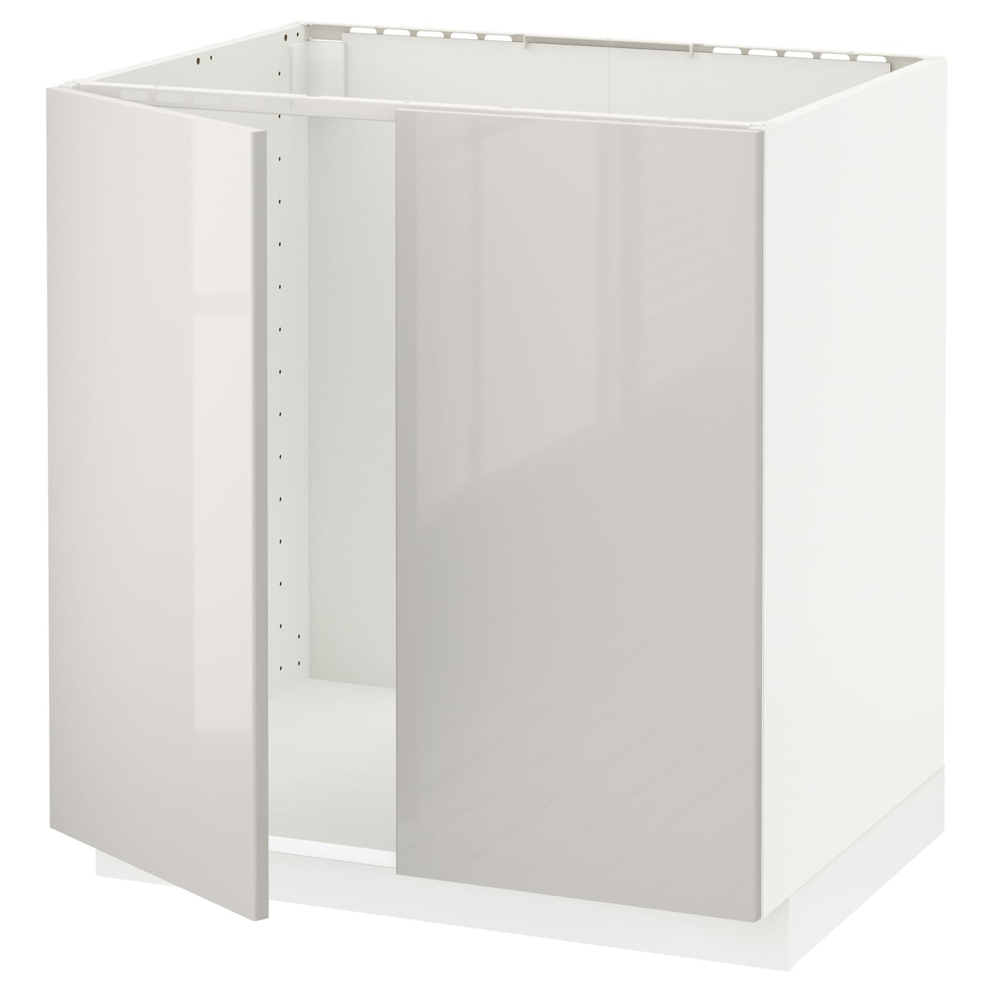 METOD Base cabinet for sink   2 doors White\/ringhult light grey 80x60 cm  IKEA