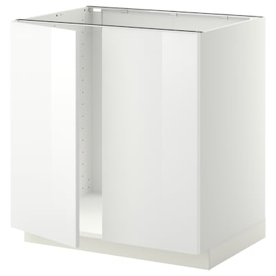 METOD Base cabinet for sink + 2 doors, white/Ringhult white, 80x60 cm