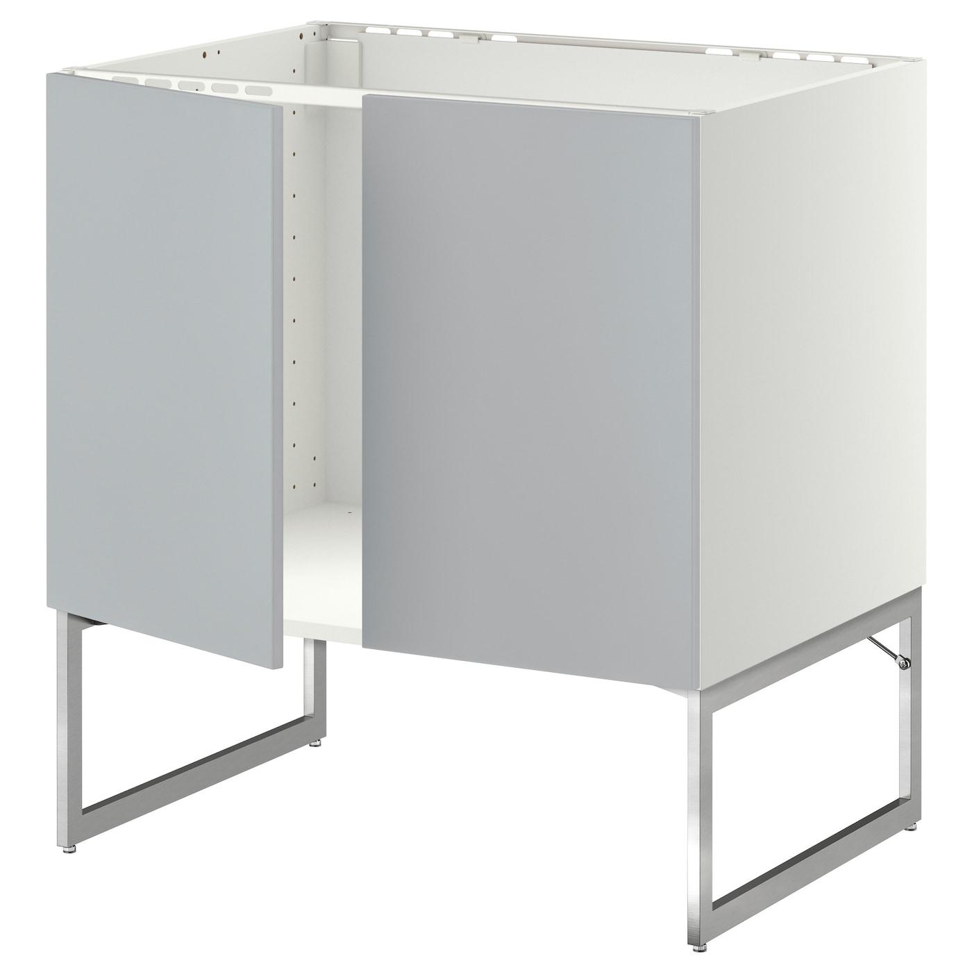 Metod base cabinet for sink 2 doors white veddinge grey for Ikea base cabinets