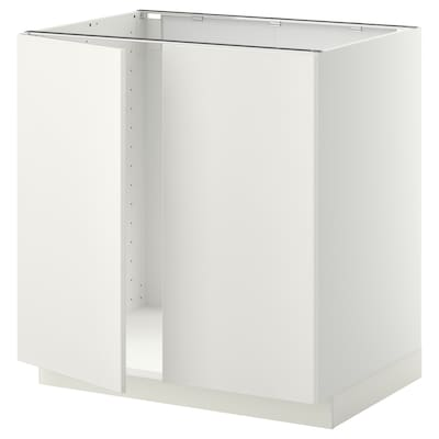 METOD Base cabinet for sink + 2 doors, white/Veddinge white, 80x60 cm
