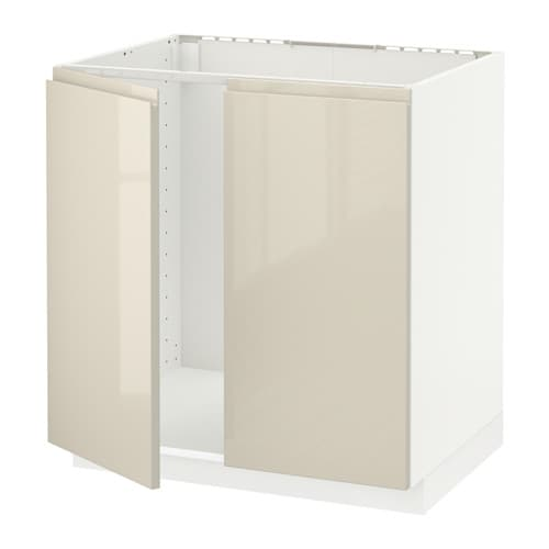 Metod Wall Cabinet With 2 Doors White Voxtorp High Gloss: METOD Base Cabinet For Sink + 2 Doors White/voxtorp High