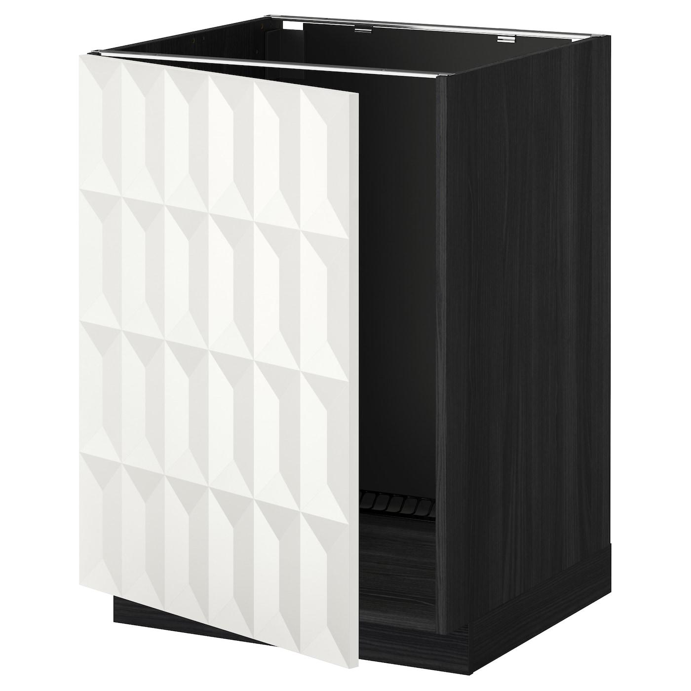 metod base cabinet for sink black herrestad white 60 x 60 cm ikea. Black Bedroom Furniture Sets. Home Design Ideas