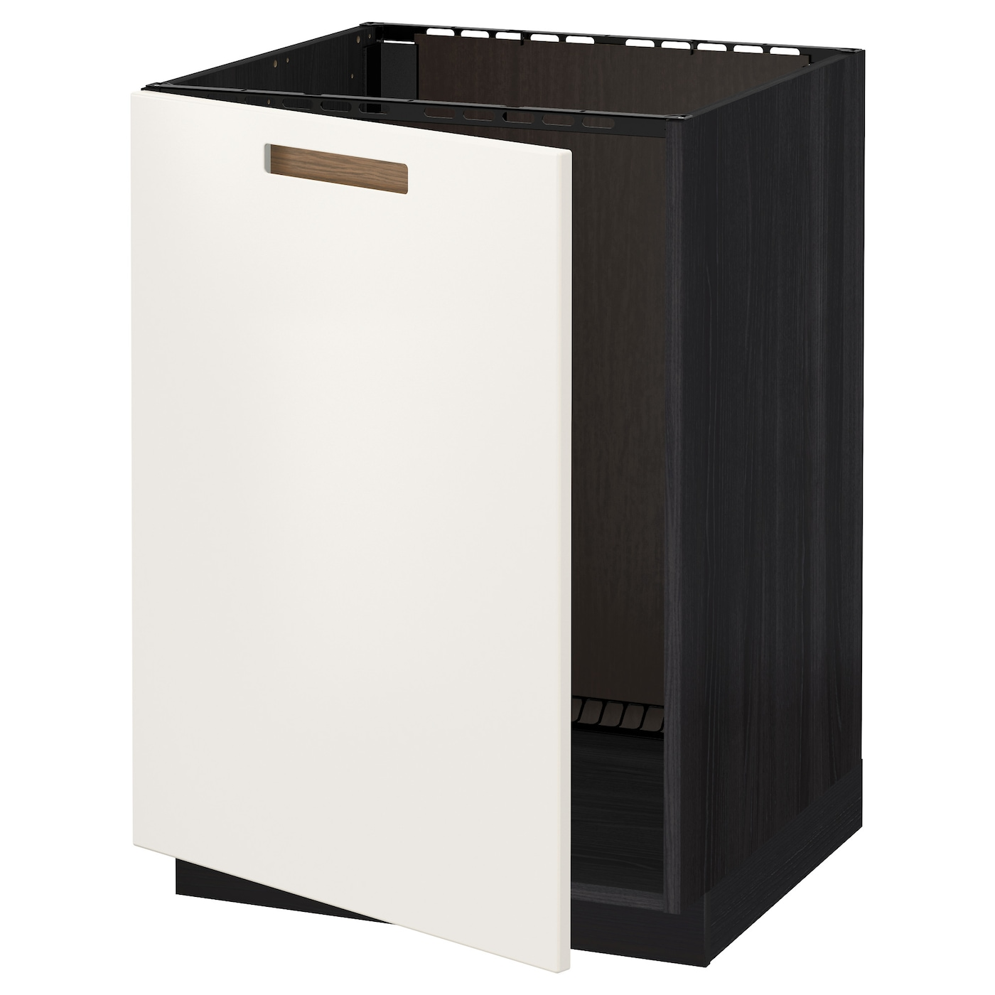 Metod base cabinet for sink black m rsta white 60x60 cm ikea for Black kitchen base cabinets
