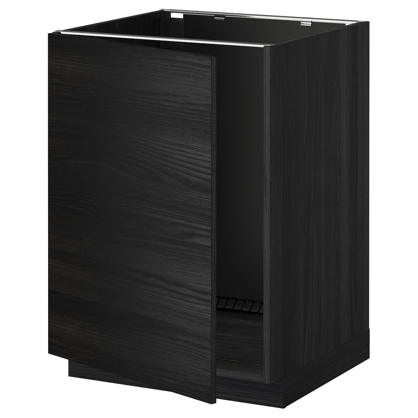 METOD Base Cabinet For Sink Black/tingsryd Black 60 X 60 Cm