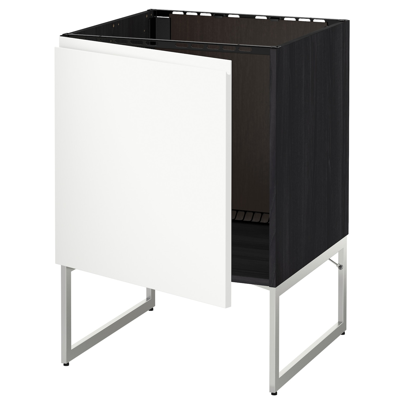 Metod Base Cabinet For Sink Black Voxtorp White 60x60x60 Cm Ikea