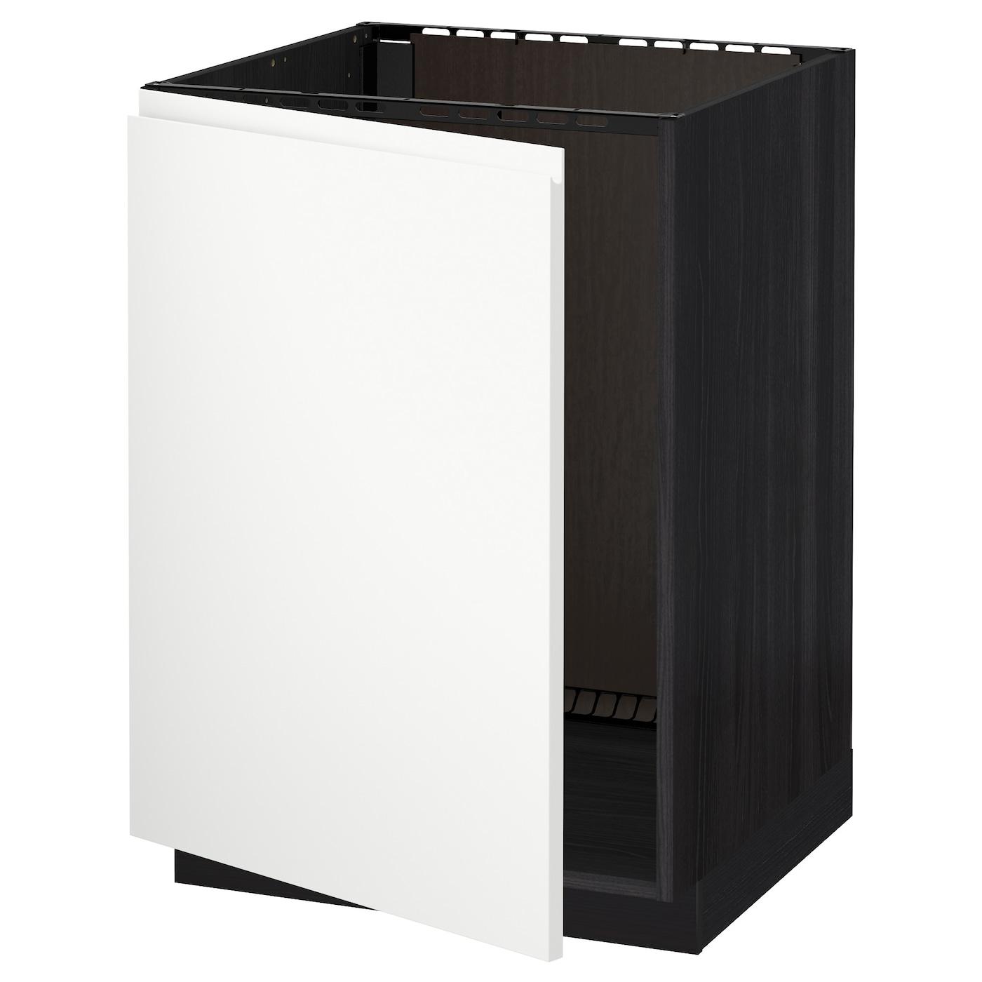 Metod base cabinet for sink black voxtorp white 60x60 cm for Black kitchen base cabinets