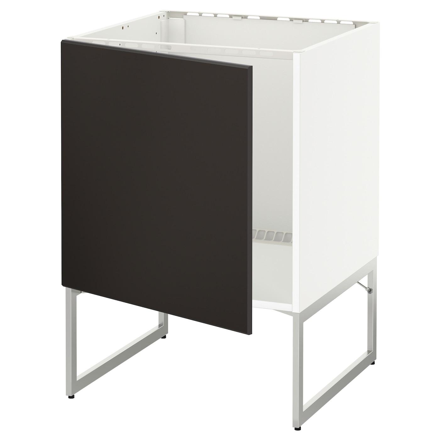 Metod Base Cabinet For Sink Black Järsta Orange 60x60 Cm: METOD Base Cabinet For Sink White/kungsbacka Anthracite