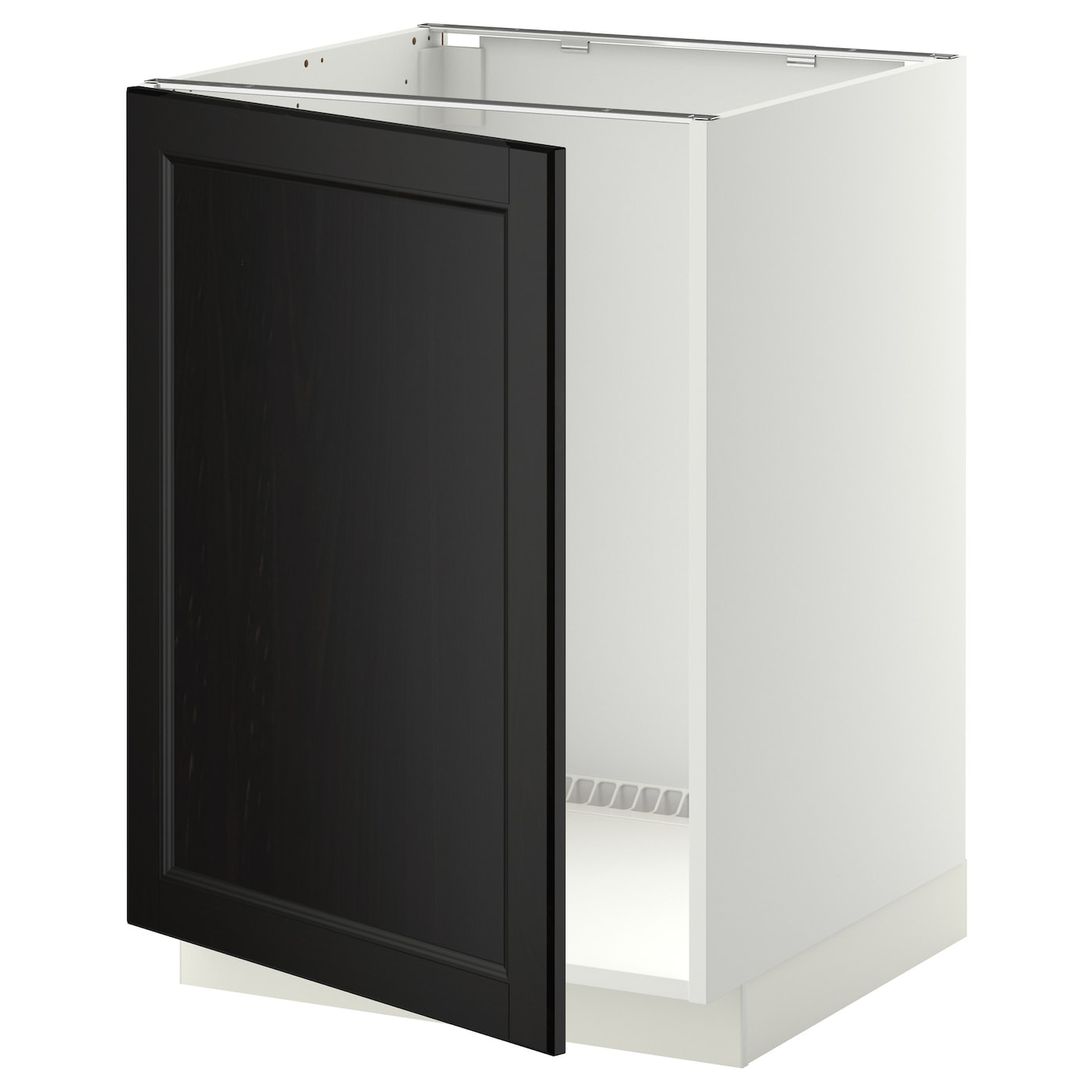Metod base cabinet for sink white laxarby black brown for Black kitchen base cabinets