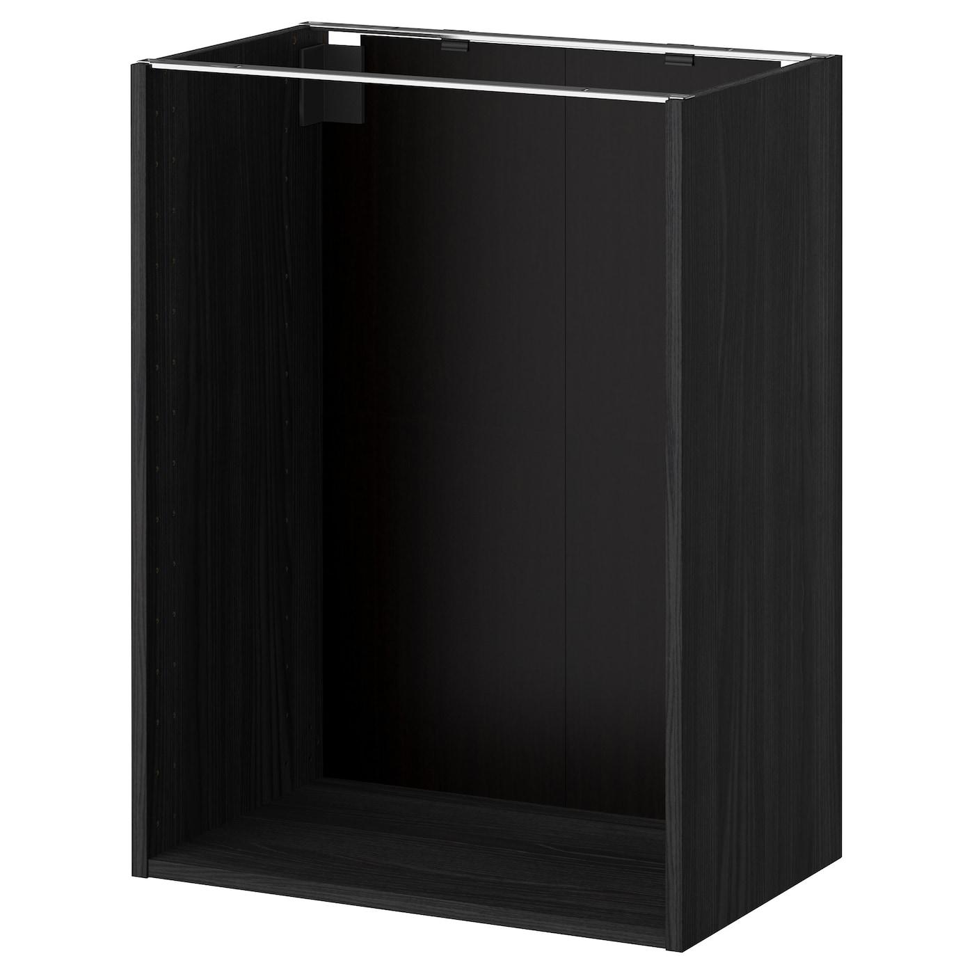 METOD Base Cabinet Frame Wood Effect Black 60 X 37 X 80 Cm