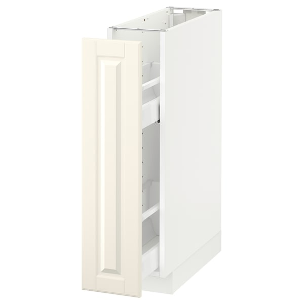 METOD Base cabinet/pull-out int fittings, white/Bodbyn off-white, 20x60 cm