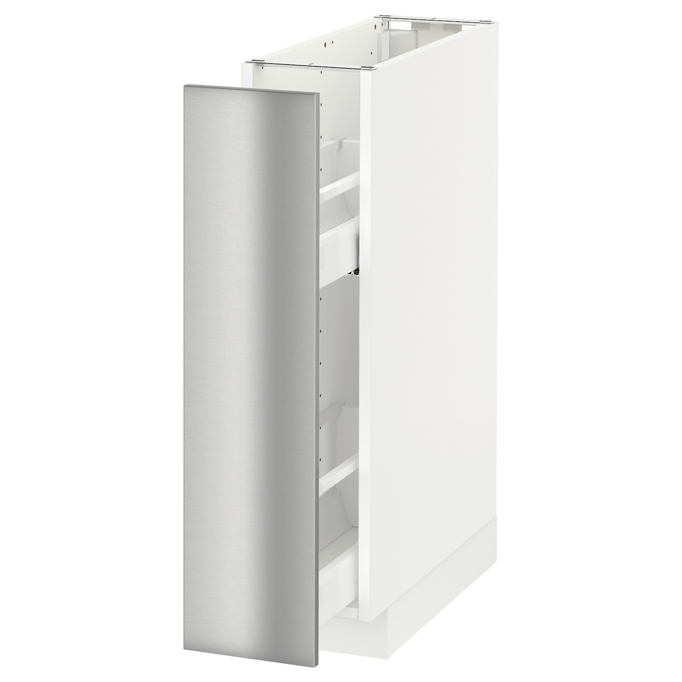 Metod base cabinet pull out int fittings white grevsta for Stainless steel kitchen base cabinets
