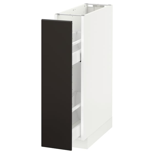 METOD Base cabinet/pull-out int fittings, white/Kungsbacka anthracite, 20x60 cm