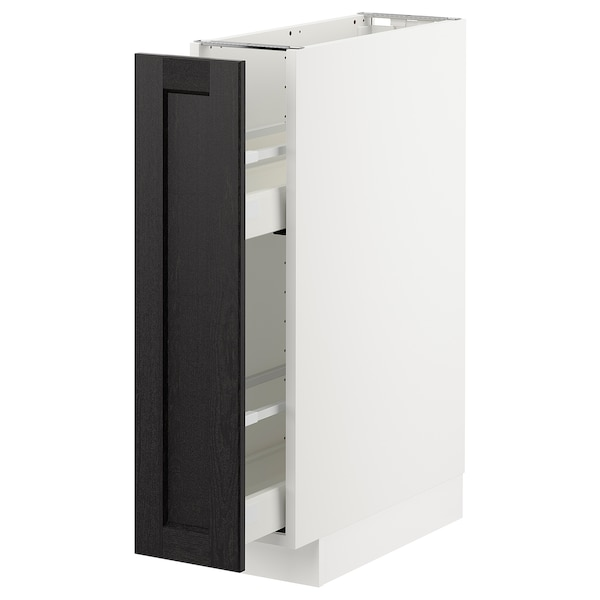 METOD Base cabinet/pull-out int fittings, white/Lerhyttan black stained, 20x60 cm